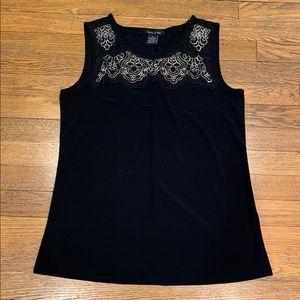 Women's Black Sleeveless Blouse, Size Small
